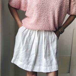 Linen Easy Skirt Pleated Eggshell White
